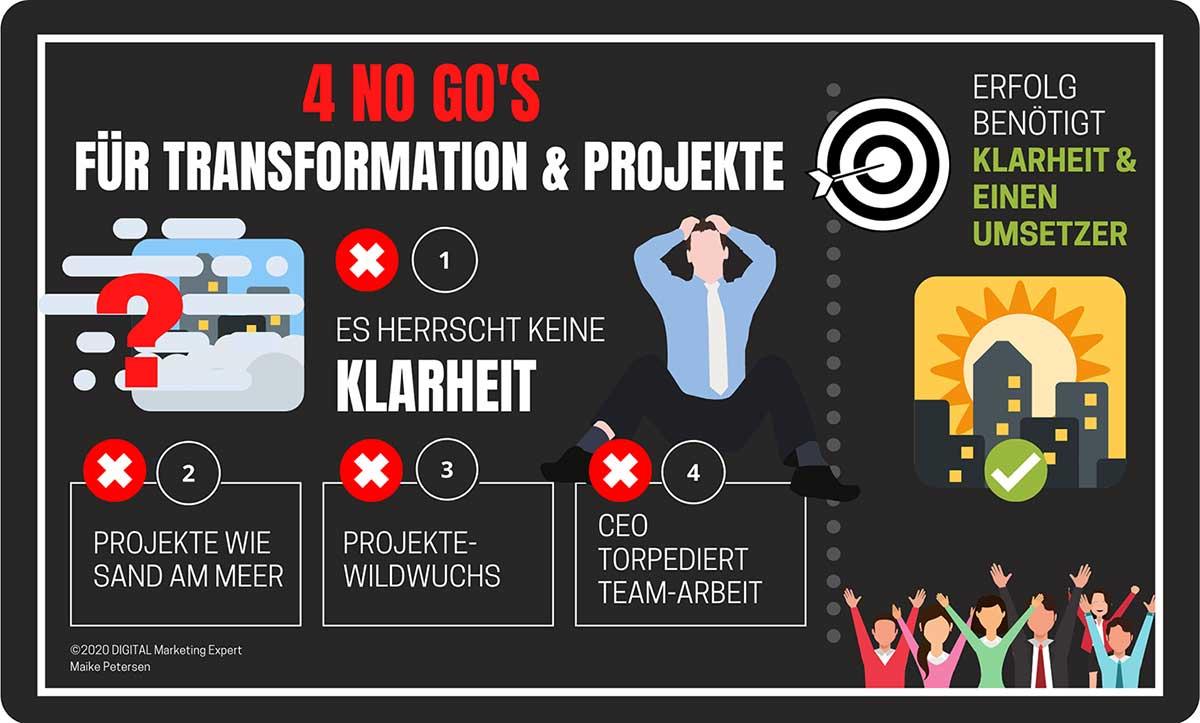 Digitale Transformation scheitert? 4 NoGos für Projekte & Transformation | Maike Petersen, Querdenker