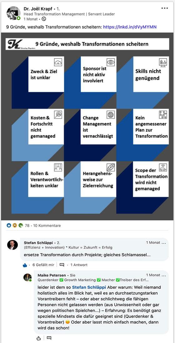Digitale Transformation scheitert? | Maike Petersen Kommentar auf LinkedIn