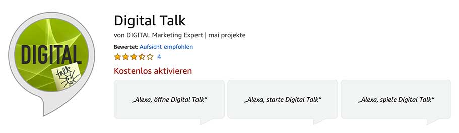Podcast DIGITAl talk - Alexa Skill aktivieren