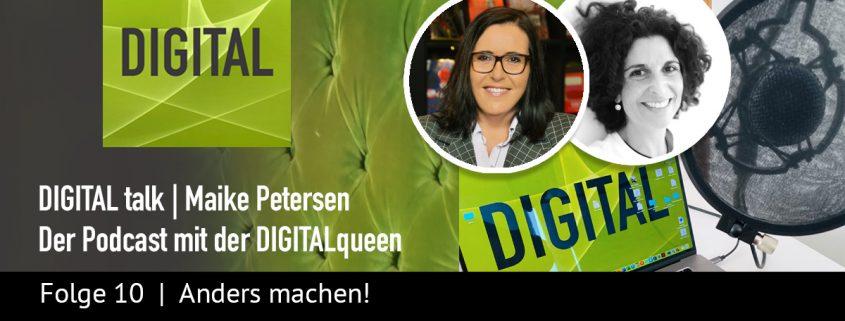 Anders machen | DIGITAL talk Podcast Maike Petersen mit Eva Riedi - Beitragsbild_1200x456